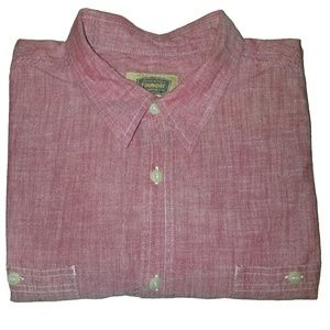 Foundry Supply Co Red Chambray Button Down Shirt